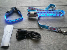 Rechargeable LED Dog Collar with Leash, (S) BRAND NEW