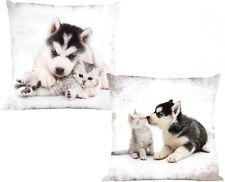 Kissen Kuschelkissen Dekokissen mit Hund und Katze 40 x 40 cm