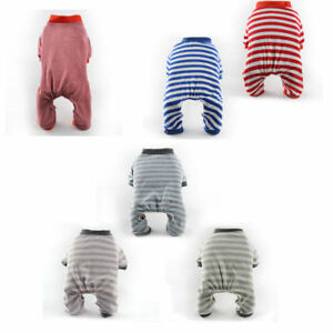 Pet Dog Clothes Cotton Stripe Puppy Cat Hoodie Jumpsuit Pajamas Coat Pet Apparel