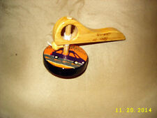 Mexican Wood Pull String Spinning Top w / Handle Painted