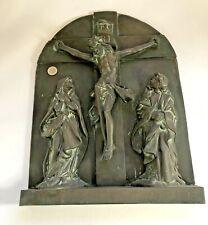 """Schweres Bronzerelief """" Grabplatte"""" Massiv / Bronzeplatte Heilige"""