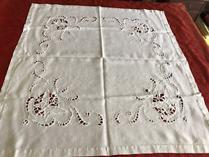Vintage White Embroidered Butterfly Cotton Tablecloth - 82x78cm Original