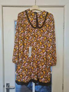 Topshop 60s Mod Dress Dagger Collar Size 12 14