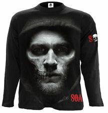 Espiral Directo Jax Skull largo Slve T Shirt hijos de la anarquía/Biker SAMCRO/Pistola/SOA