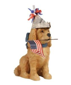 Bethany Lowe Americana Puppy with Flag Patriotic Figure (TD6017)