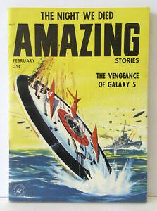 Vintage AMAZING STORIES Magazine - Pulp Science Fiction  - February 1958