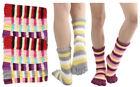 6 Pairs Assorted Stripes Winter Soft Warm Toe Socks Size 9-11 Cozy WOMENS NEW