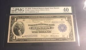 1918 $1 Boston Federal reserve Bank Note ,FR 709 , PMG 40