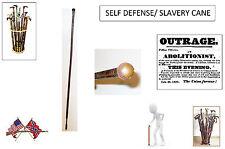 VINTAGE LEATHER RINGED WRAPPED CANE. SELF-DEFENSE / SLAVERY CANE. USA SELLER.