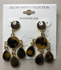 Jaclyn Smith Collection Gold Tone Tortoise Shell Dangle Ear Rings Sensitive New