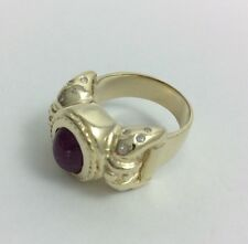 """CABOCHON RED RUBY AND DIAMONDS IN 14K YELLOW GOLD RING """"FREE SIZING"""""""