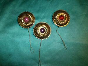 3 alte Christbaumkugeln Messing Ornamente gold Perlen Blumen Christbaumschmuck