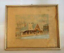 Aquarell Landschaft mit Haus russisch? signiert H. Raabe Eissporthaus Oppel Bild