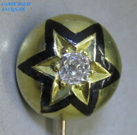 VICTORIAN 0.21CT OLD CUT DIAMOND SOLID 15K GOLD & STAR ENAMEL TIE PIN c1890