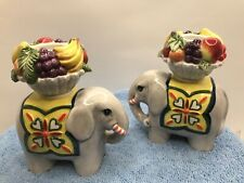 Porcelain Pair Of Elephants, Candle Holder Figurine
