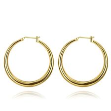 Lucky Korean Womens Yellow Gold Filled 34mmSmooth Hoop Earrings Comfort Fit