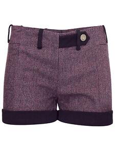 Ladies Women Sarah Chole PURPLE Wool Blend Tweed Shorts Size 8 - 12 RRP €29.90