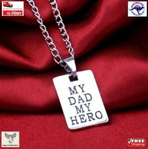 Father's Day Gift My Dad My Hero Rectangle Pendant Necklace Charm Men [A6X~B60]