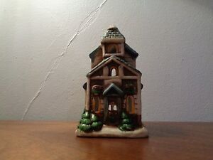 Ceramic Church With Snow on the Roof and Wreath on Door Tea Light Holder
