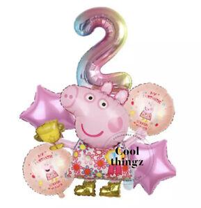 PEPPA PIG BALLOON SET Golden Wellies for 2nd Birthday Party Girls Boy Decoration