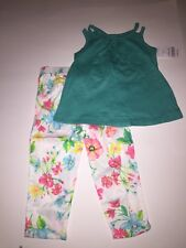 baby girl clothes green top w/white multicolor flower design pants 18 months old