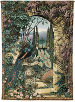 MAJESTIC PEACOCK * THE SECRET GARDEN TAPESTRY LARGE 56 x 80 GRANDE TAPESTRIES