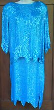 SILK SEQUINED Evening Formal Top Skirt Womens LARGE Turquoise 5g6