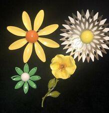 4 Vintage 50s 60s Enamel Yellow Orange Flower Power Brooch Pin Estate Jewelry