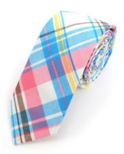 Blue White Pastel Slim Tie Multi-Color Plaid Necktie - Wedding, Easter, Uniform