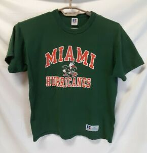 Retro MIAMI HURRICANES Vintage Boys T-Shirt RUSSELL ATHLETIC Green YOUTH XL