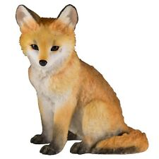 """Red Fox Pup Kit Sitting Figurine Statue 4.25"""" High Detailed Polystone New In Box"""