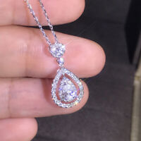 925 Silver Luxury Pear Cubic Zirconia AAA+ Pendant Necklace Wedding Engagement