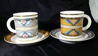 4 pc RARE ART DECO AK KAISER DEMITASSE COFFEE CUP AND SAUCERS NOUVEAU GERMANY