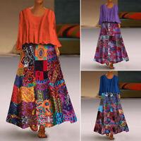 UK Womens Bohemia Floral Printed Round Neck Long Dress Casual Loose Maxi Dresses