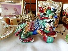 Vintage Chinese Porcelain Multicoloured Dog of Foe 11.5cm High
