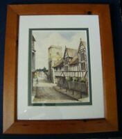 Original Framed Ink Watercolour Painting ~ Guildhall & Church, Much Wenlock