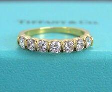 $7100 Tiffany & Co 18K Yellow Gold 7 Round .93ct Diamond 3.5mm Wedding Band Ring