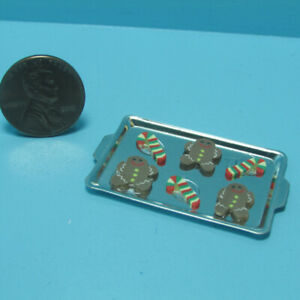 Dollhouse Miniature Christmas Gingerbread Men & Multi Candy Cane Cookie Sheet