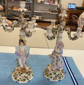 "Antique SITZENDORF GERMAN PORCELAIN DRESDEN Figural Candelabras 21"" RARE"