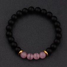 Fashion Charm 8MM Natural Lava Pink Cats Eye Beads Man Women Bracelets Gift