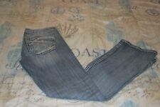 Womens Silver Twisted Boot Cut Stretch Low Rise Destroyed Size 27X30 Blue Jeans