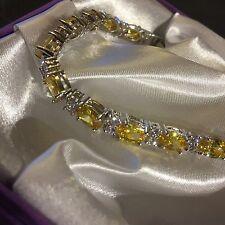 "GB Yellow Citrine & Diamante Silver (White Gold GF) Bracelet 18cm/7"" BOXD PlumUK"