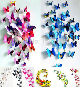 3D Butterfly 12 pcs Wall Stickers Art Decal Home Kids Room Decorations UK Seller