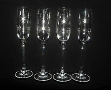 Set of 4 Signed Lenox Crystal Tuscany Classics Fluted Champagne Goblets Glasses