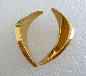 14K Earrings Modernist Angular Curved Design 4.2 Grams Pierced Style