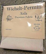 "Wichelt Imports Premium Cross Stitch Fabric Aida 16ct 18"" X 25"" Ivory"
