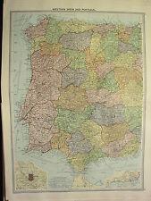 1920 gran mapa ~ Occidental España & Portugal Madrid alrededores de Lisboa Málaga Castilla