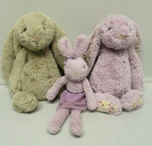 Jellycat BUNNY RABBITS Purple Blossom Flower Ears Tutu Lulu & Bashful LOT OF 3