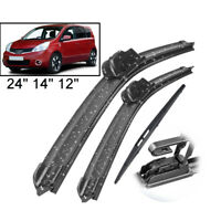 "24""14""12"" Front Rear Windshield Wiper Blades For Nissan Note 04-13 05 06 07 08"