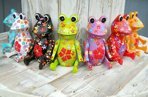 Coloured Wooden Cute Figure 10 cm FROG Variants of Multi colours Home Decoration
